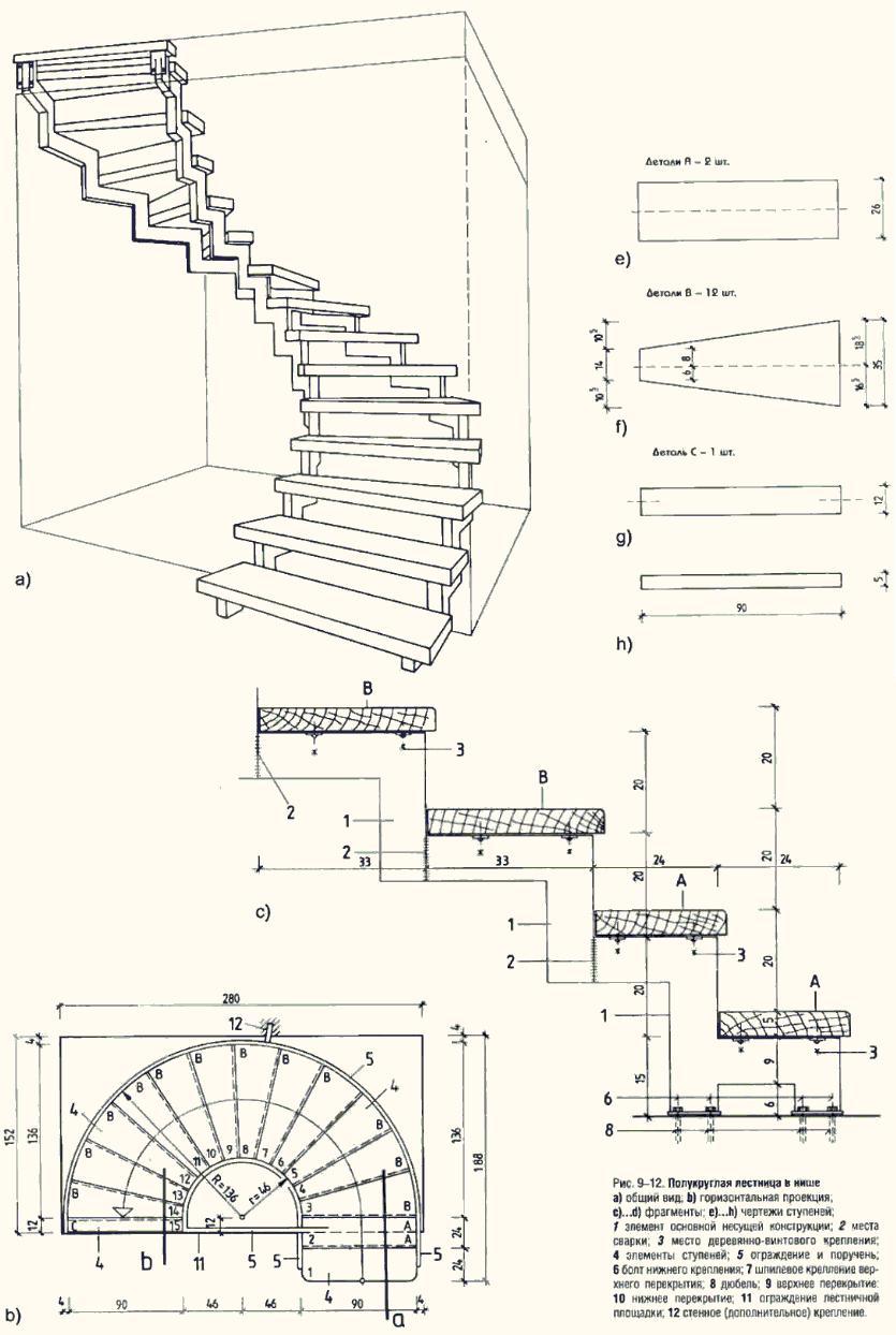 Винтовая лестница своими руками чертеж